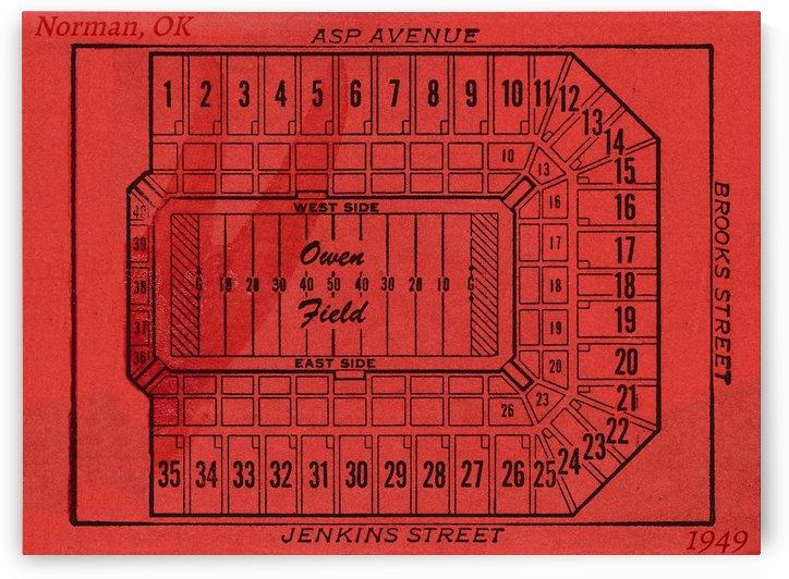 1949 owen field stadium map historic college stadiums by Row One Brand