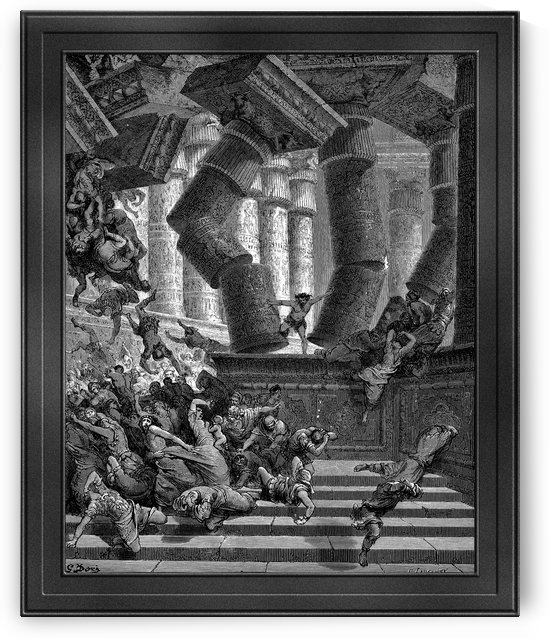 The Death of Samson by Gustave Dore Classical Fine Art Old Masters Reproduction by xzendor7