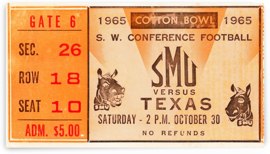 1965 texas longhorns smu mustangs college football by Row One Brand