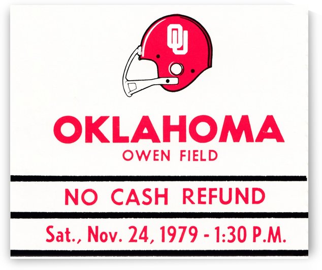1979 Oklahoma Sooners Football Metal Sign Ticket Stub by Row One Brand