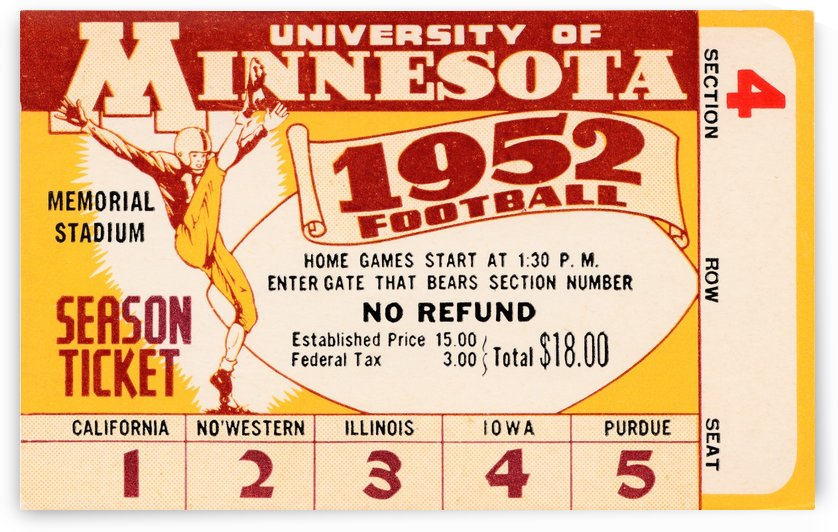 1952 minnesota golden gophers football season ticket by Row One Brand