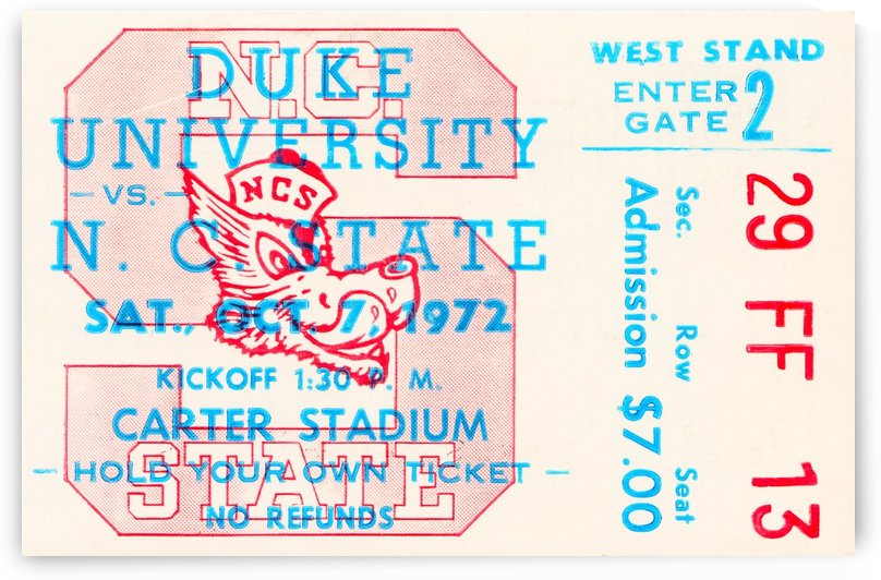 1972 nc state wolfpack football ticket art by Row One Brand