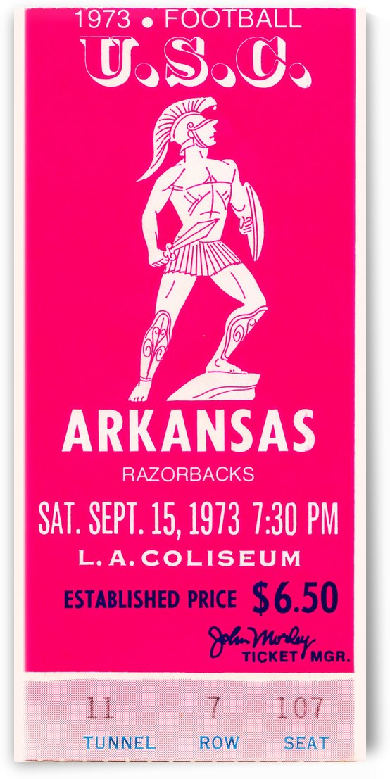 1973 usc trojans arkansas college football ticket stub art by Row One Brand