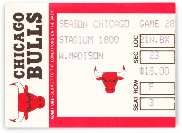 1985 chicago bulls ticket stub art section 23 by Row One Brand