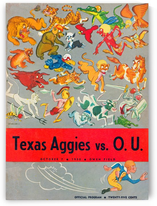 1950 oklahoma sooners owen field program wall art by Row One Brand