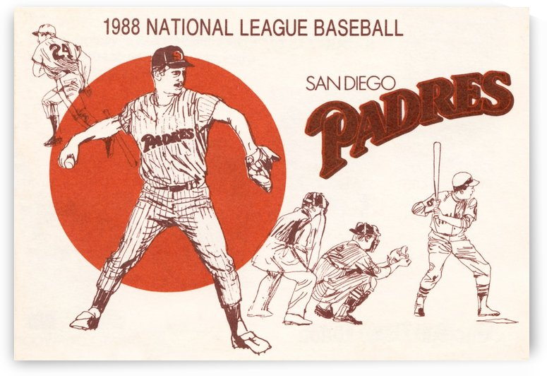 1988 san diego padres vintage poster by Row One Brand