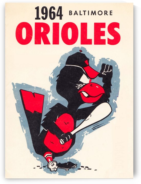 1964 baltimore orioles vintage baseball art poster by Row One Brand
