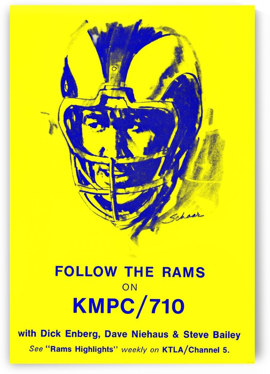 1972 la rams kmpc 710 dick enberg los angeles by Row One Brand