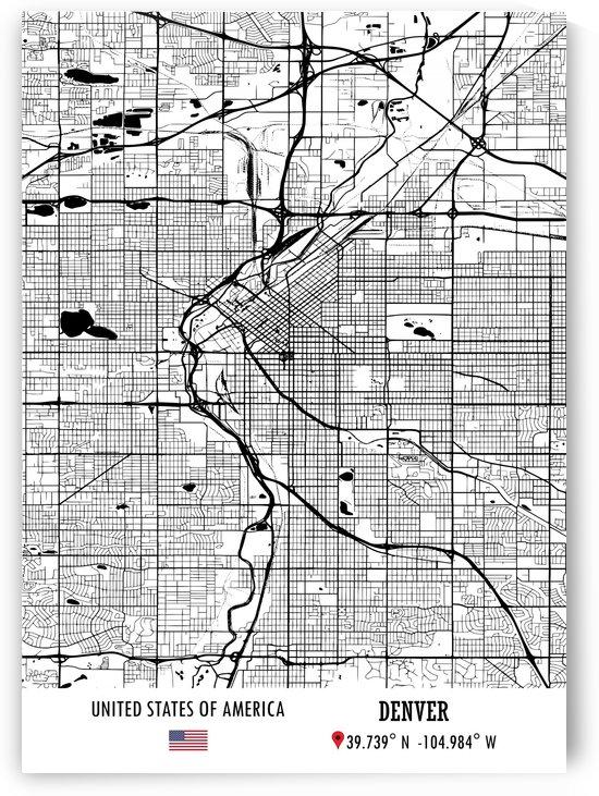 Denver USA Map by Artistic Paradigms