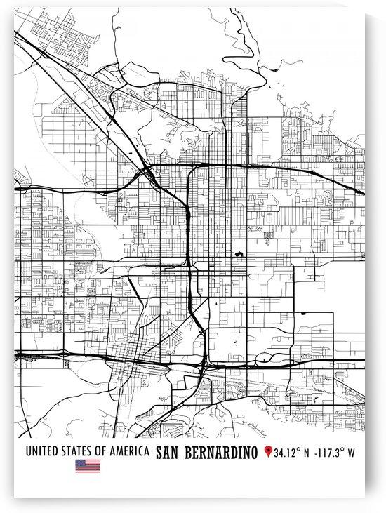 San Bernardino USA Map by Artistic Paradigms