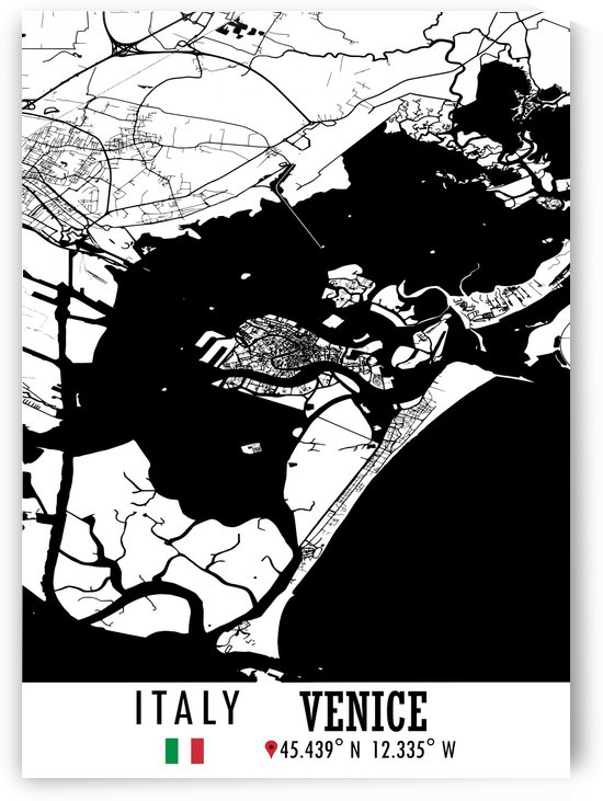 Venice ITALY Map by Artistic Paradigms