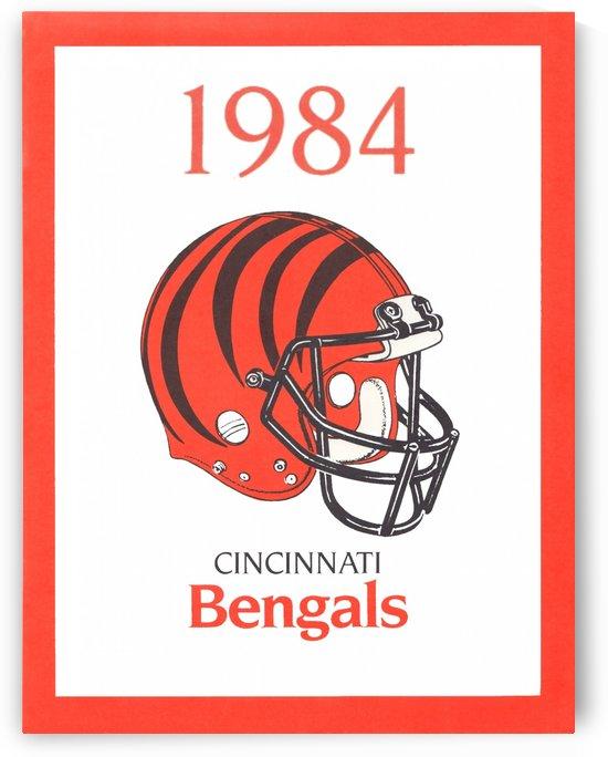 1984 cincinnati bengals retro helmet poster by Row One Brand