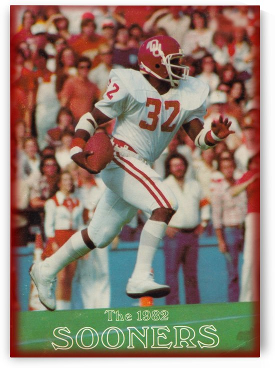 1982 oklahoma sooners retro college football poster by Row One Brand