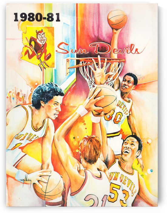1980 arizona state university asu sun devils college basketball poster by Row One Brand