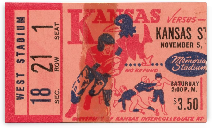 1955 university of kansas jayhawks super vintage college football art by Row One Brand