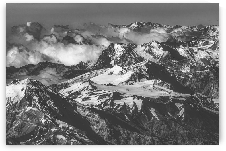 Black and White Andes Mountains Aerial View Chile by Daniel Ferreia Leites Ciccarino