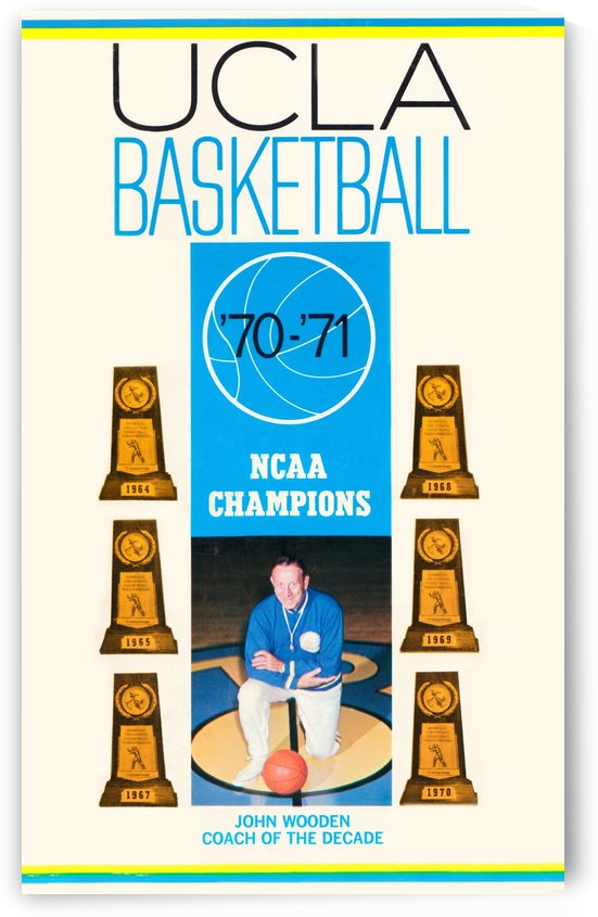1970 ucla bruins basketball john wooden poster ncaa champions by Row One Brand