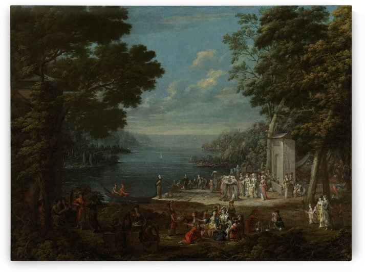 Party with figures along the Bosphorus by Jean Baptiste Vanmour