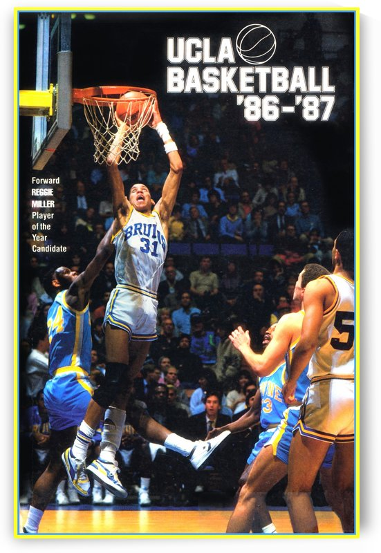 1986 ucla basketball reggie miller poster by Row One Brand