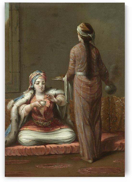 Woman having tea and cookies by Jean Baptiste Vanmour