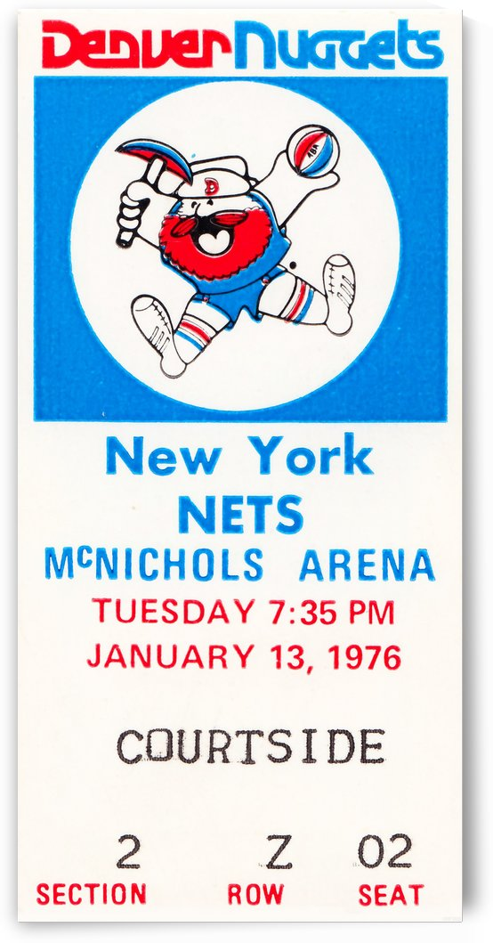1976 denver nuggets vintage ticket stub art by Row One Brand