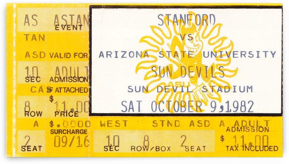 1982 arizona state sun devil college football ticket stub canvas sports wall art by Row One Brand
