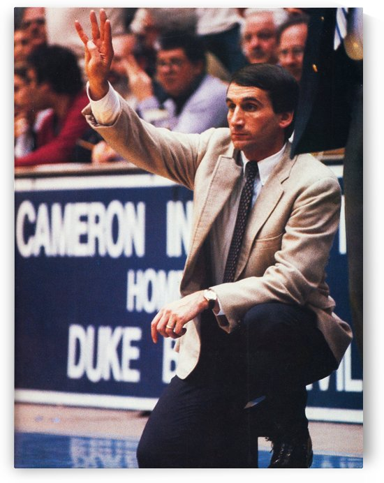 college basketball art coach k duke university basketball poster by Row One Brand