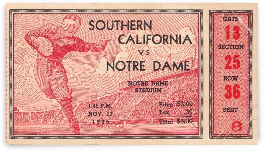 1935 Notre Dame Irish USC Trojans College Ticket Stub Art by Row One Brand