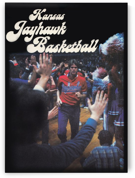 vintage kansas jayhawks basketball poster ku 1982 by Row One Brand