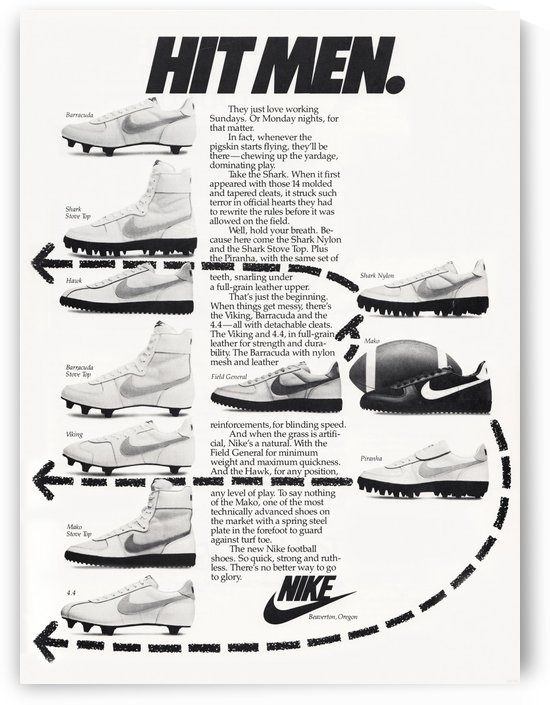 Hit Men Nike Shoes Ad Poster Reproduction 1982 by Row One Brand