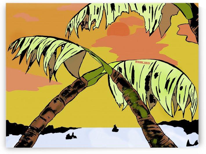 Palm Tree Landscape by Dukiri arts
