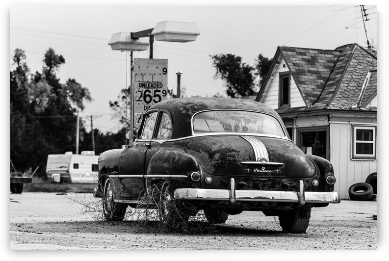 1950 Pontiac Runs Collects Weeds.BW by Garald Horst