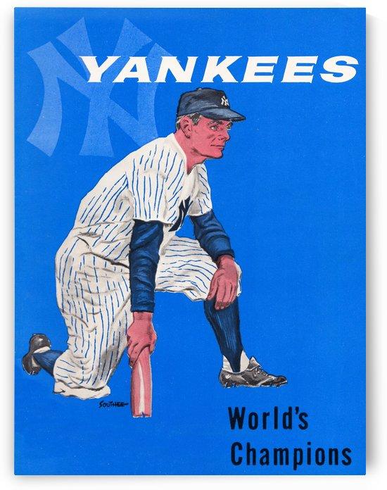 1958 New York Yankees Vintage Baseball Art by Row One Brand