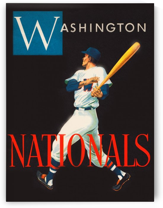 Vintage Washington Nationals Baseball Art by Row One Brand