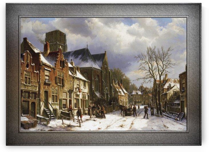 Winter Street Scene by Willem Koekkoek Classical Fine Art Reproduction by xzendor7