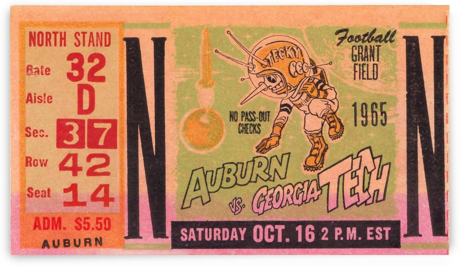 Georgia Tech Football Ticket Stubs 1965 College Football by Row One Brand