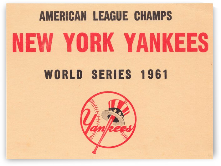 1961 New York Yankees World Series Wooden Baseball Prints by Row One Brand
