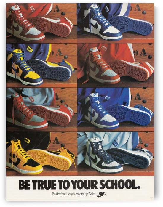 Retro Nike Shoes 1987 Nike Shoe Ad Be True to Your School Poster by Row One Brand