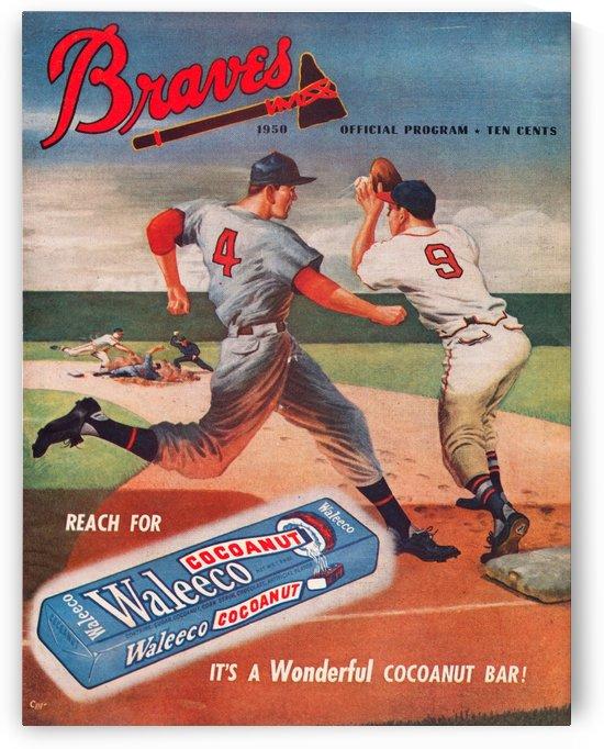 Vintage Baseball Scorecard Art 1950 Milwaukee Braves Program Wood Print by Row One Brand