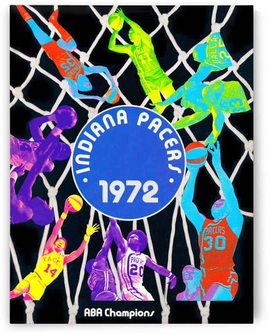 1972 ABA Champions Indiana Pacers Retro Basketball Sports Poster Wall Art by Row One Brand