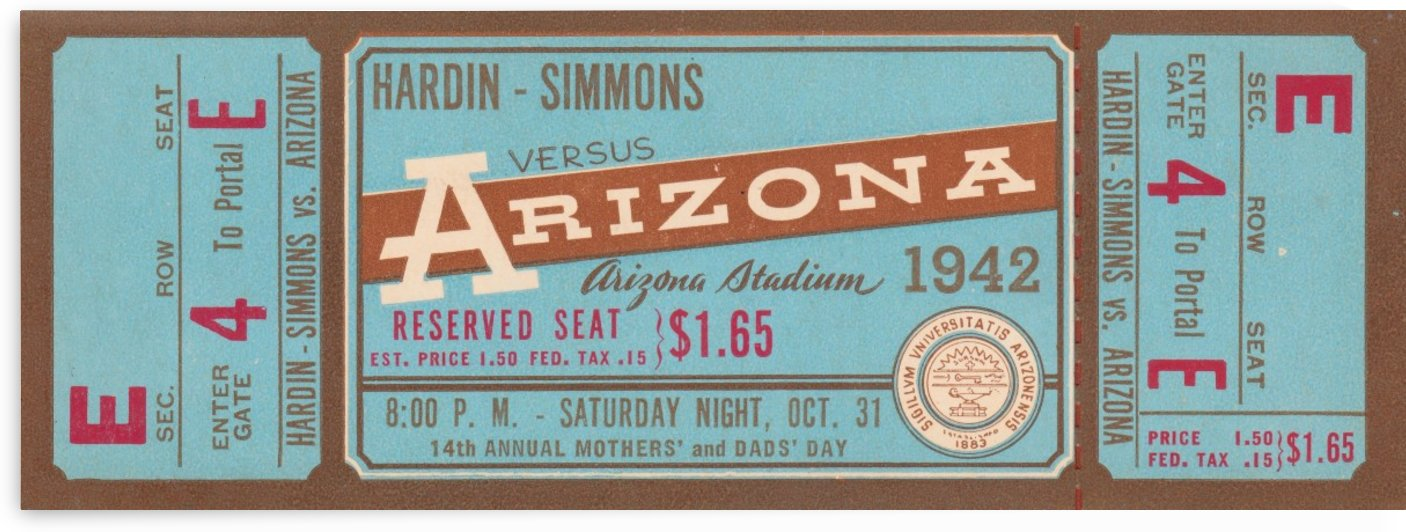 1942 Arizona Wildcats Football Ticket Stub Wall Art by Row One Brand
