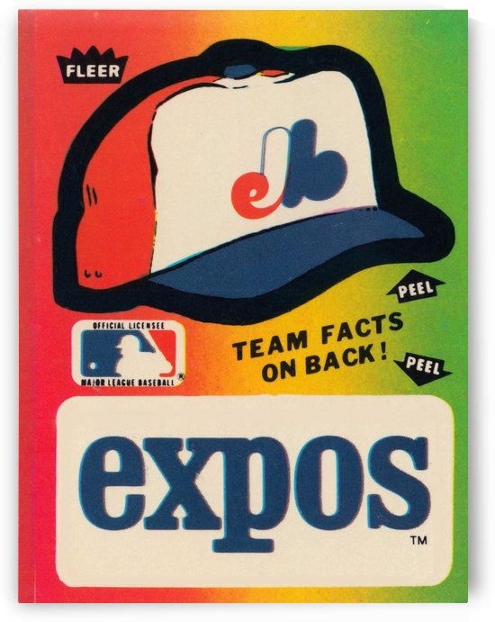 1983 Montreal Expos Fleer Sticker Wall Art by Row One Brand
