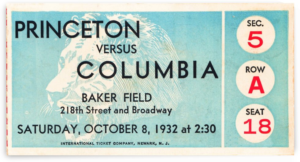 1934 Princeton vs. Columbia Lions Football Ticket Wall Art by Row One Brand