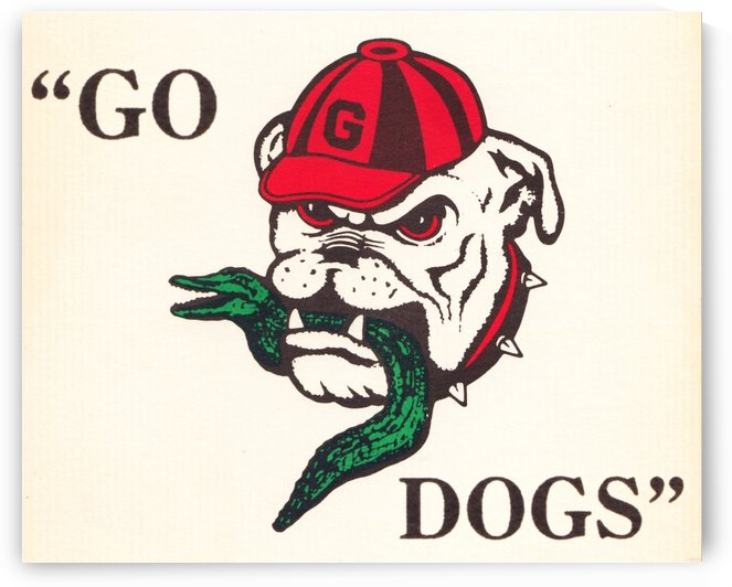 georgia bulldog eating gator retro college sign by Row One Brand