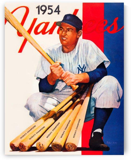 1954 new york yankees vintage baseball art by Row One Brand
