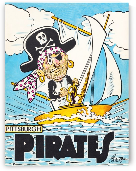 sports artist jack berger sr vintage pittsburgh pirates canvas art by Row One Brand