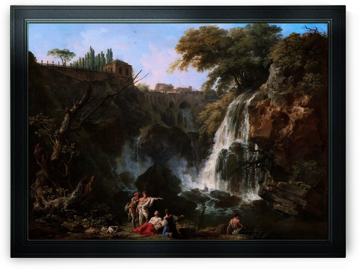 The Waterfalls at Tivoli with the Villa of Maecenas by Claude-Joseph Vernet Fine Art Old Masters Reproduction by xzendor7