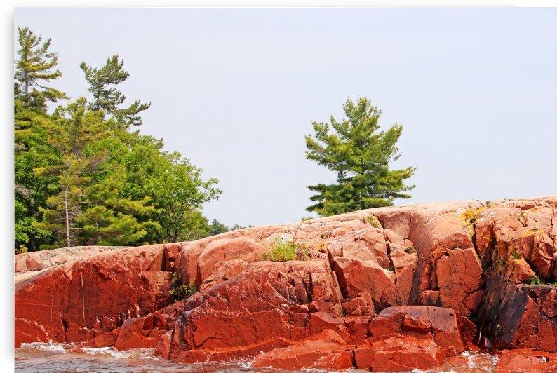 Pink Granite Of Georgian Bay by Deb Oppermann