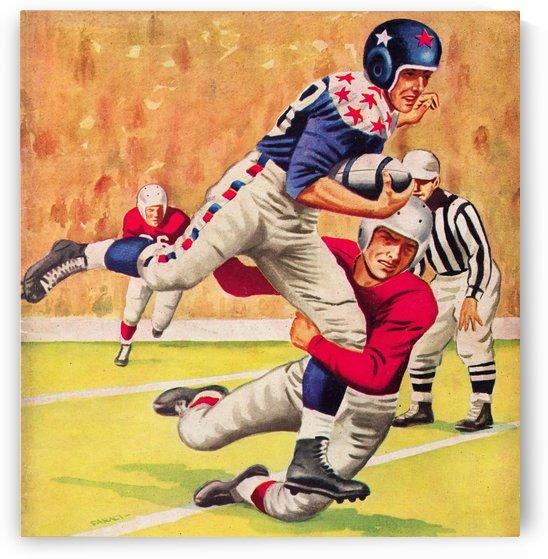artist joe faraci vintage football art 1954 best sports artists all time by Row One Brand
