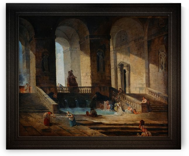 Washerwomen In A Roman Architecture by Hubert Robert Old Masters Reproduction by xzendor7